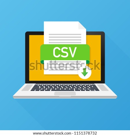 Download CSV button on laptop screen. Downloading document concept. File with CSV label and down arrow sign. Vector stock illustration.