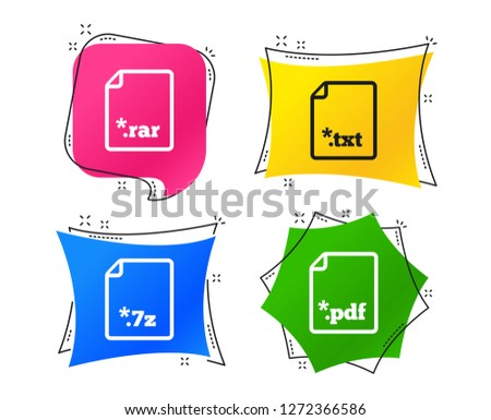 Download document icons. File extensions symbols. PDF, RAR, 7z and TXT signs. Geometric colorful tags. Banners with flat icons. Trendy design. Vector