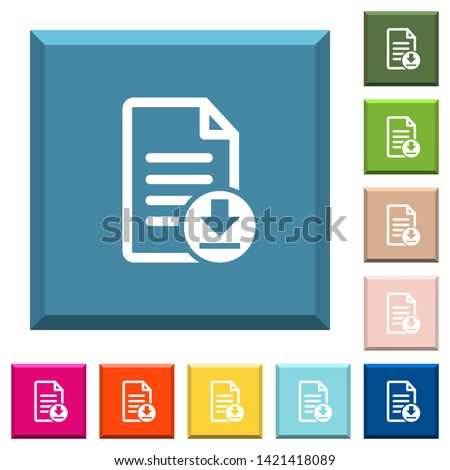 Download document white icons on edged square buttons in various trendy colors