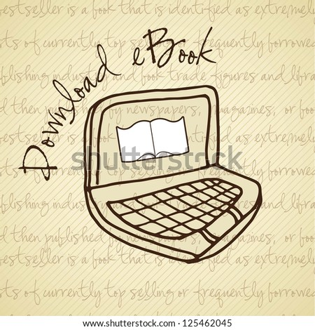 Download ebook handmade drawing.On vintage  Vector illustration