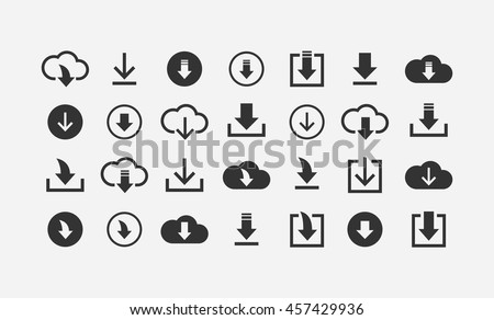 Download files / cloud storage icon set