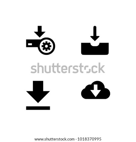 Download files icons vector set for web site or application. Various simple download icon isolated from the background. Transparent background. Dark download icons in flat style.