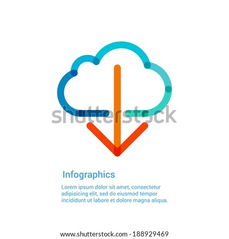 Download from the internet cloud flat line icon infographic illustration template for web app or brochure Vector illustration