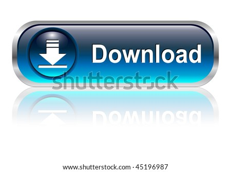 download icon, button, blue glossy with shadow, vector illustration