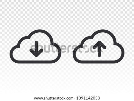 Download icon. Cloud download icon. Unloading. Computer communication. Cloud storage icon. Clouds with arrows. Loading is complete. Download file. Send file.