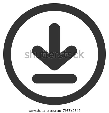Download icon in circle. Vector.