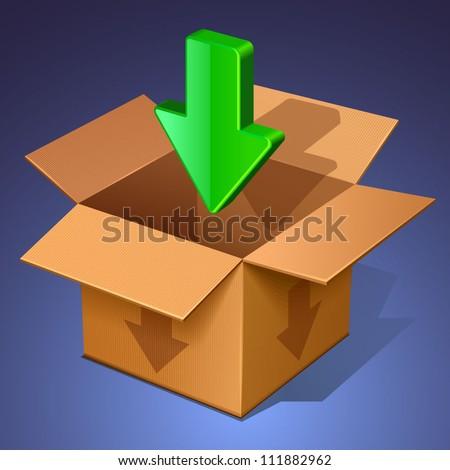 download icon. open box
