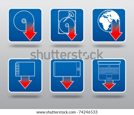Download icon set including compact disc, hard disk, internet, cell phone, memory card and laptop computer