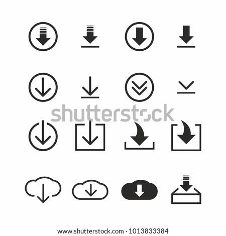 Download icon set on white background. Vector