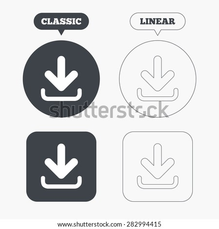 Download icon. Upload button. Load symbol. Classic and line web buttons. Circles and squares. Vector