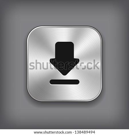Download icon - vector metal app button - stock vector