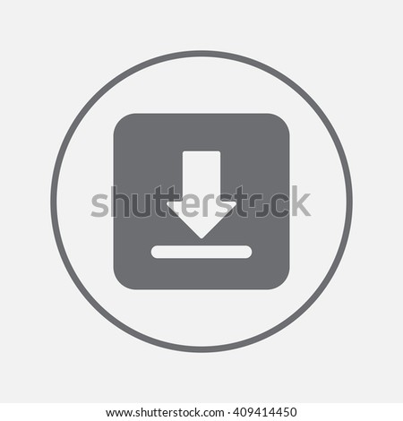 Download icon vector, solid illustration, pictogram isolated on gray