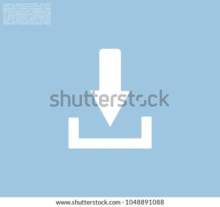 Download icon with shadow on a grey background