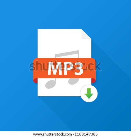 Download MP3 button. Downloading document concept. File with MP3 label and down arrow sign. Vector stock illustration.