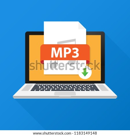 Download MP3 button on laptop screen. Downloading document concept. File with MP3 label and down arrow sign. Vector stock illustration.