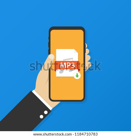 Download MP3 button on smartphone screen. Downloading document concept. File with MP3 label and down arrow sign. Vector stock illustration.