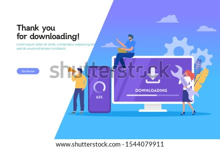 Download page of the mobile app, download system update vector illustration concept, people update operation system can use for, landing page, template, ui, web, mobile app, poster, banner, flyer