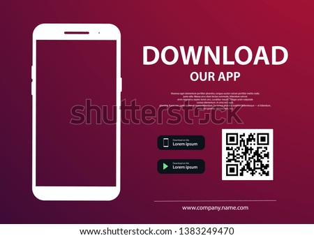 Download page of the mobile app. Empty screen smartphone for you app. Download buttons. Vector illustration