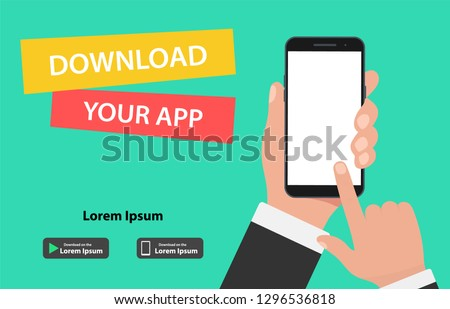 Download page of the mobile app. Hand holding smartphone and touching screen.