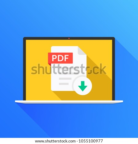 Download PDF button on laptop screen. Downloading document concept. File with PDF label and down arrow sign. Modern long shadow flat design. Vector illustration