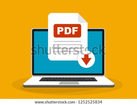 Download PDF button on laptop screen. Downloading document concept. File with PDF label and down arrow sign. Vector stock illustration.