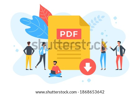 Download PDF file. Group of people with PDF document and download button. Modern flat design. Vector illustration