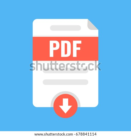 Download PDF file icon. Downloading document concept. Flat cartoon style. Vector illustration.
