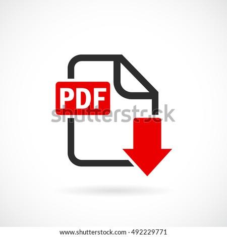 Download pdf file icon vector illustration isolated on white background. Pdf download. Pdf download icon.