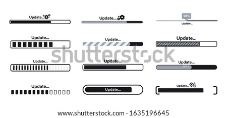 Download, Update and upgrade system bar or indicators. Upgrade application progress icon for graphic, web design, application or software. Loading or Download process or status