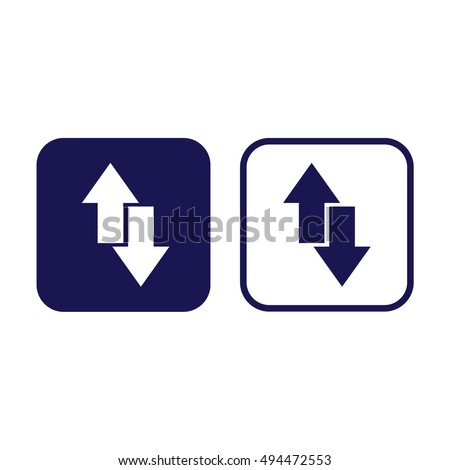 Download upload vector icon. Blue and white