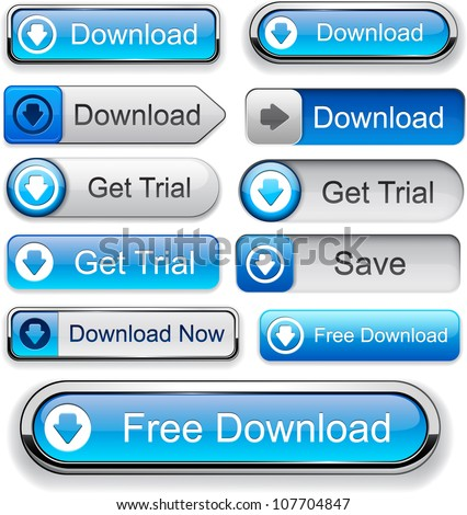 Download web blue buttons for website or app. Vector eps10.
