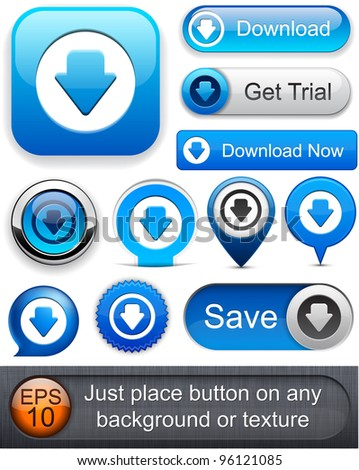 Download web blue buttons for website or app. Vector eps10. - stock vector