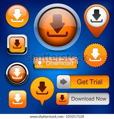 Download web orange buttons for website or app. Vector eps10.