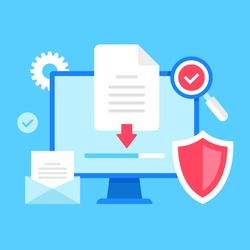 Downloading document. Vector illustration. Computer with file and down arrow symbol on screen, loading progress bar, shield, email, magnifying glass and check mark, etc.