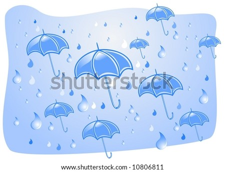 Downpour and umbrellas in the summer