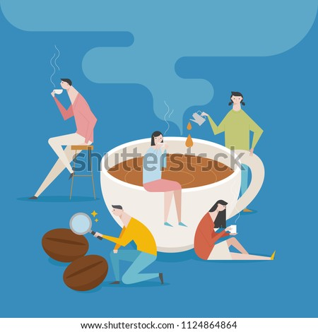 Downsizing people character concept around large coffee cup. flat design style vector graphic illustration set