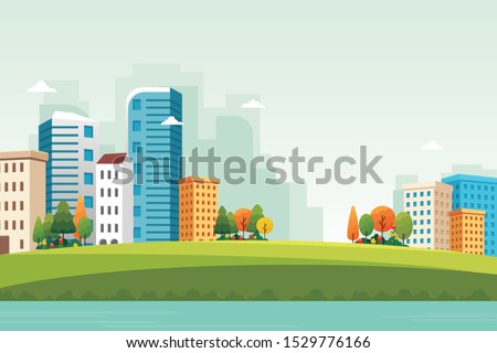 Downtown Nature landscape with modern and stylish design, simple and elegant for background