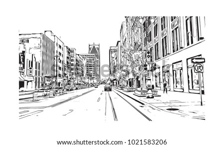 downtown street view with