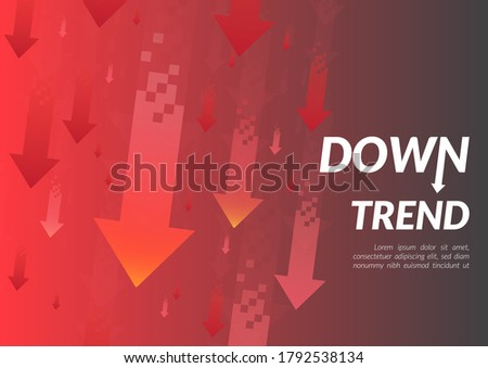 Downtrend abstract background. A group of digital red arrows points down in the air shows about feeling that fall down, lower, losing, downward, and more negative meaning. Foto stock ©