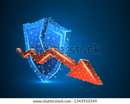 Downtrend arrow on broken Security shield abstract neon 3d illustration. Polygonal Vector business concept of market crash. Low poly wireframe, triangles, lines, dots, polygons on blue background