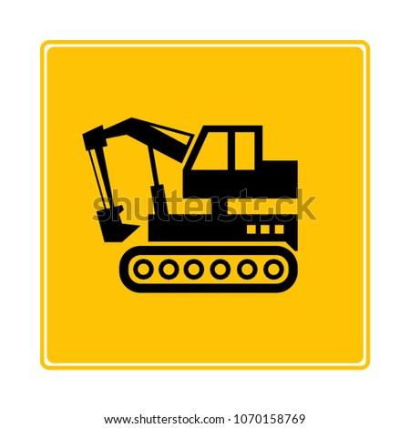 dozer, excavator icon in yellow background