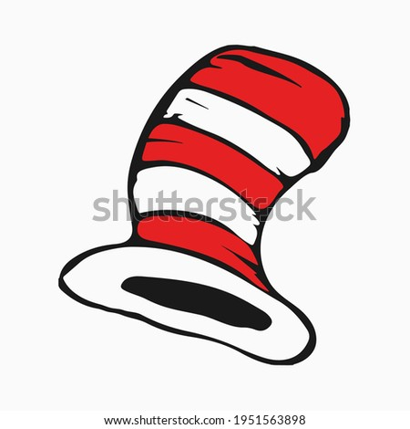 Dr Seuss cat in the hat. Hat, mustaches and bow-knot.
