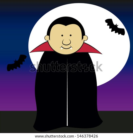dracula smiling on a moonlit