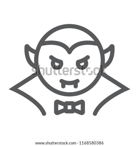 Dracula vampire line icon, bat and halloween, creature sign, vector graphics, a linear pattern on a white background, eps 10.