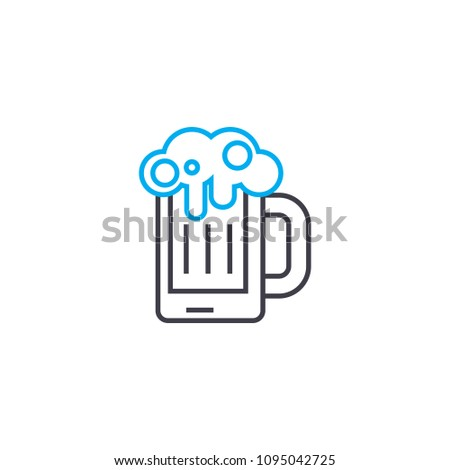 Draft beer linear icon concept. Draft beer line vector sign, symbol, illustration.