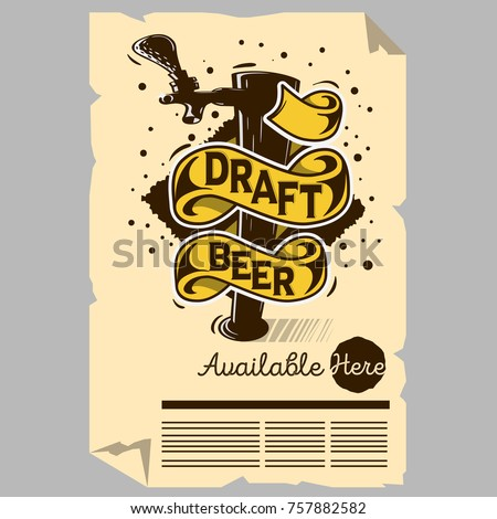 Draft Beer Tap Machine Illustration Poster Flyer Design For Promotion For Restaurants Pubs Clubs. Vector Graphic.