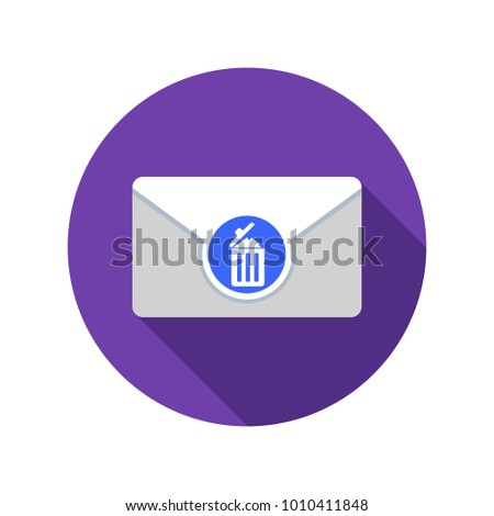 Draft mail icon. Email icon with long shadow. Vector Flat Illustration