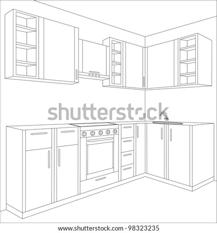 Draft Of Kitchen. Kitchen Interior. Kitchen Furniture. Flag