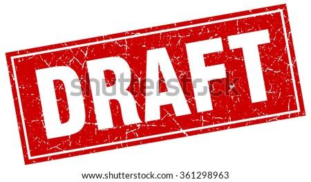 draft red square grunge stamp on white