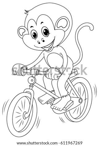 Drafting animal for monkey riding bike illustration